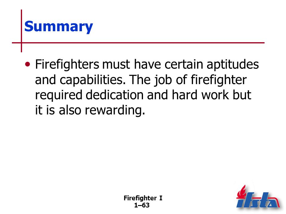 Review Questions 1. What are four categories of fire service members