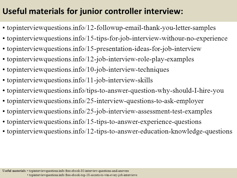 Top 10 Junior Controller Interview Questions And Answers