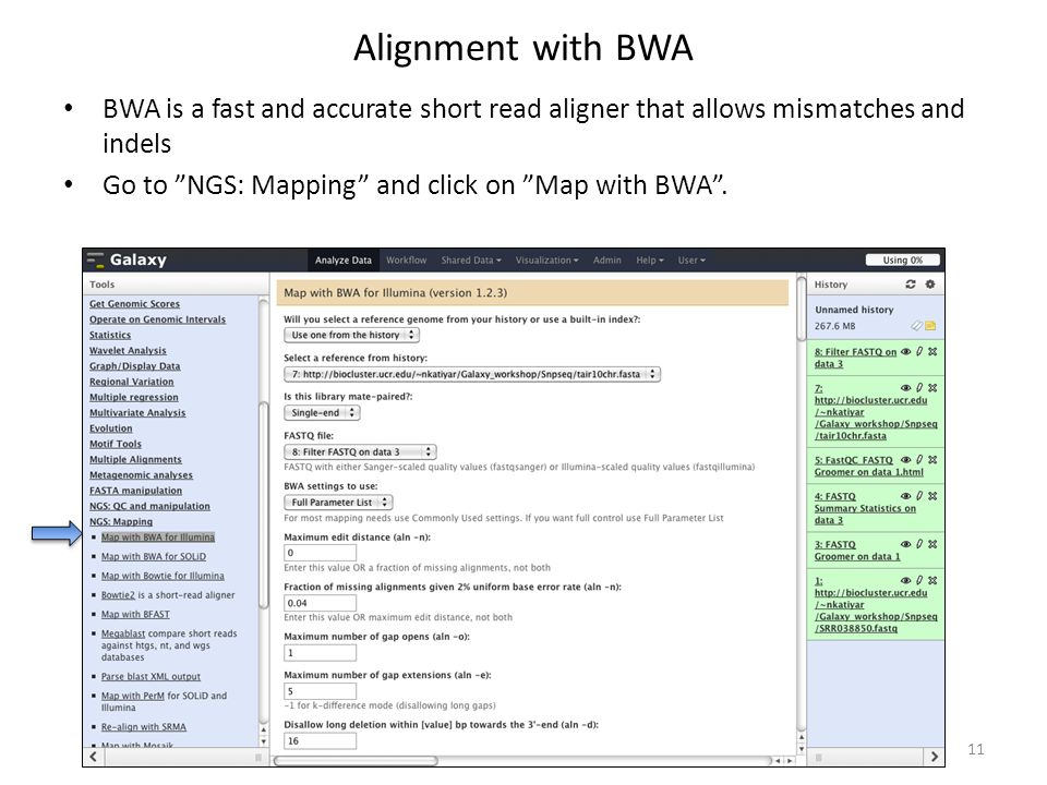Alignment with BWA BWA is a fast and accurate short read aligner that allows mismatches and indels.