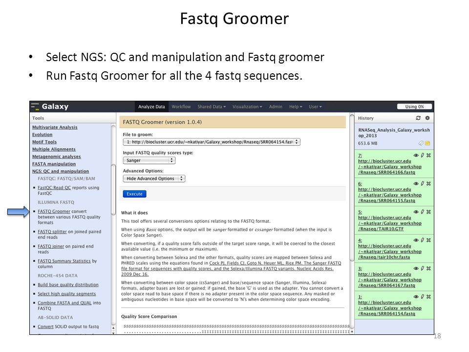 Fastq Groomer Select NGS: QC and manipulation and Fastq groomer