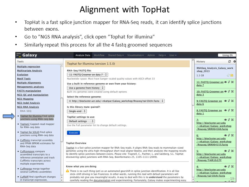 Alignment with TopHat TopHat is a fast splice junction mapper for RNA-Seq reads, it can identify splice junctions between exons.