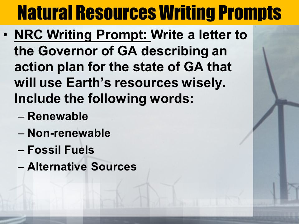 Natural Resources Writing Prompts