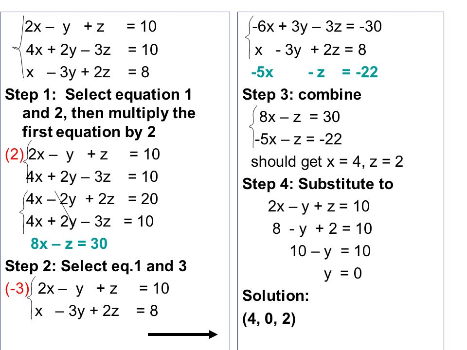 3 5 Solving systems of equations in 3 variables - ppt video