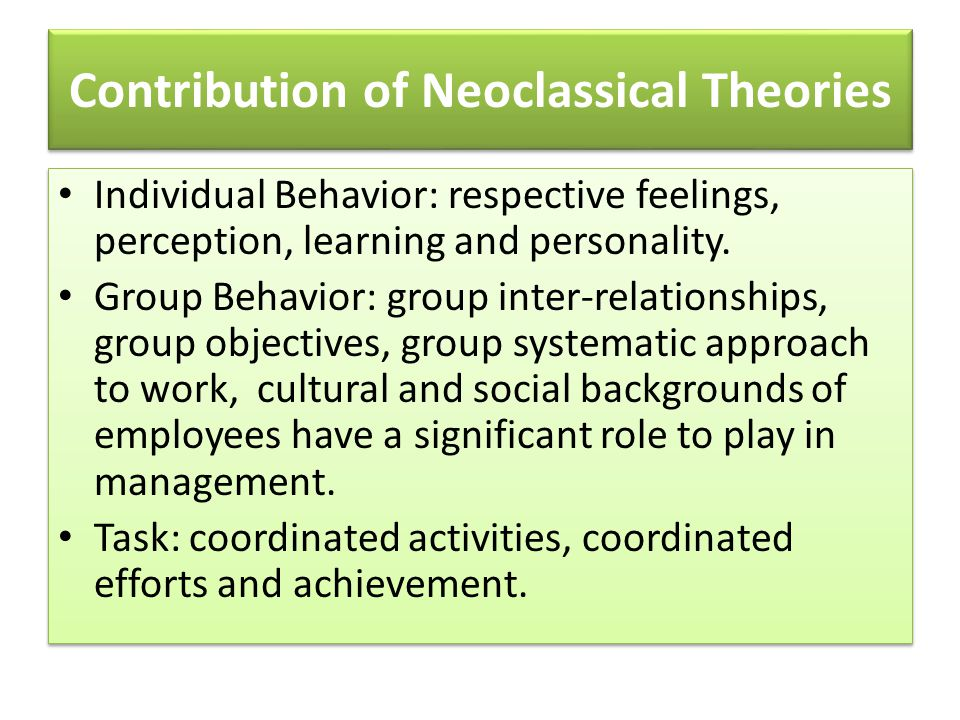 neoclassical theory of management