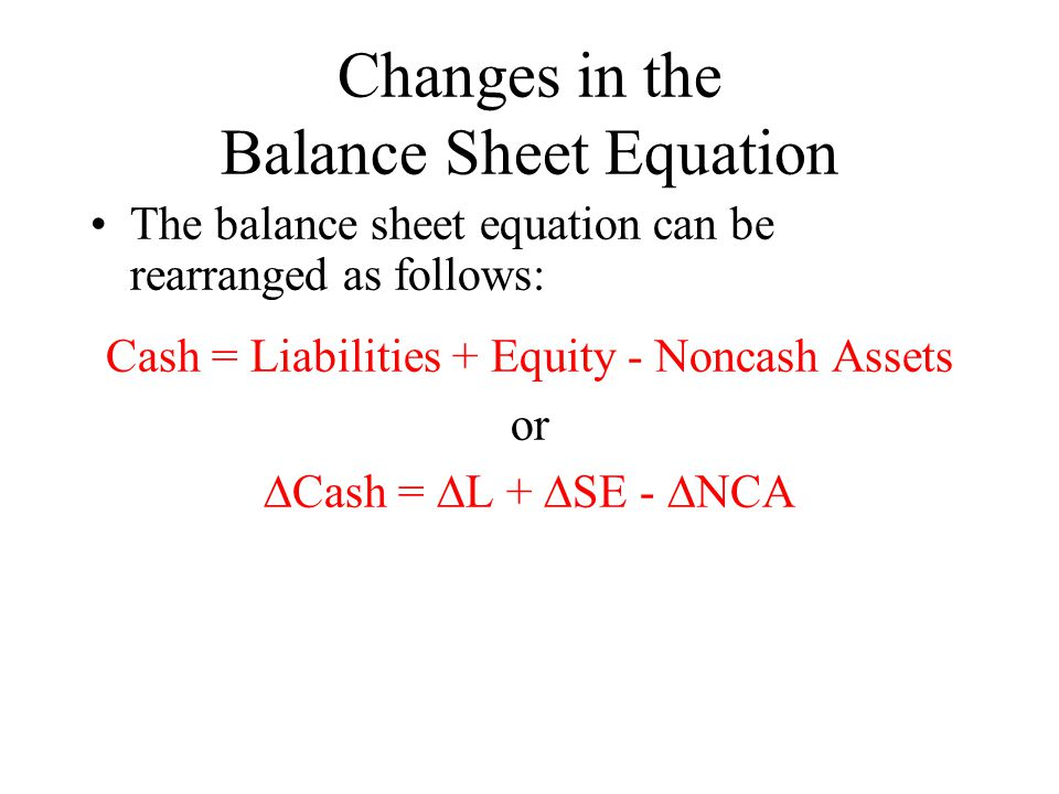 Changes in the Balance Sheet Equation