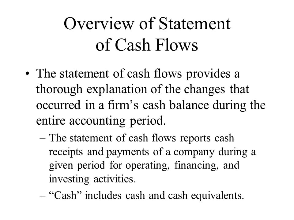 Overview of Statement of Cash Flows