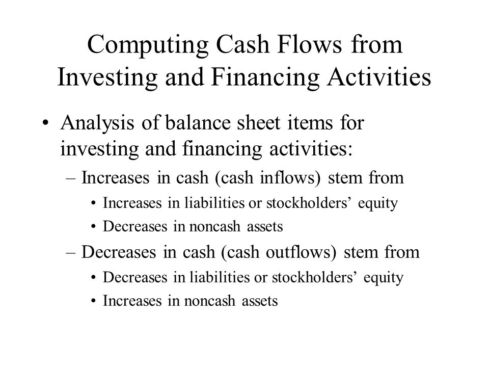 Computing Cash Flows from Investing and Financing Activities