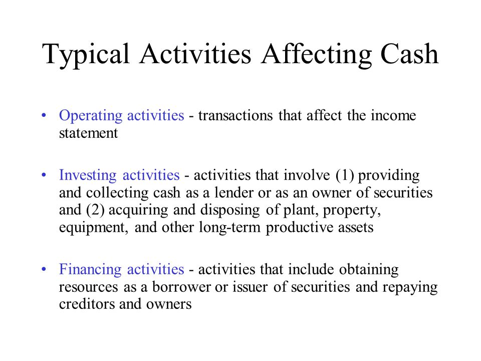 Typical Activities Affecting Cash