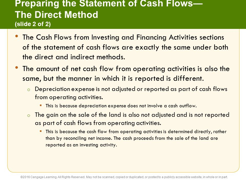 Preparing the Statement of Cash Flows— The Direct Method (slide 2 of 2)