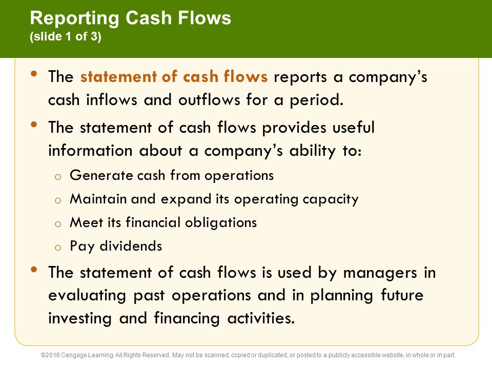 Reporting Cash Flows (slide 1 of 3)