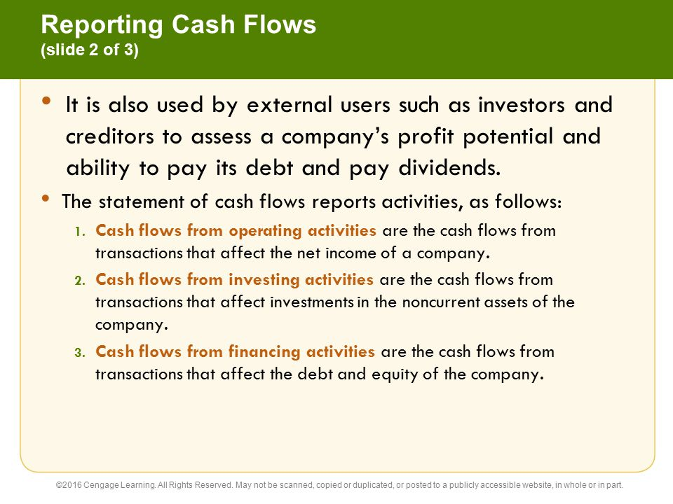 Reporting Cash Flows (slide 2 of 3)
