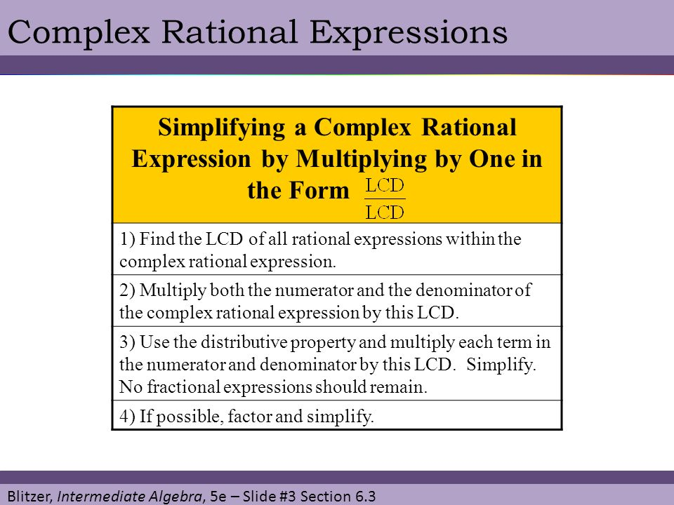Complex Rational Expressions
