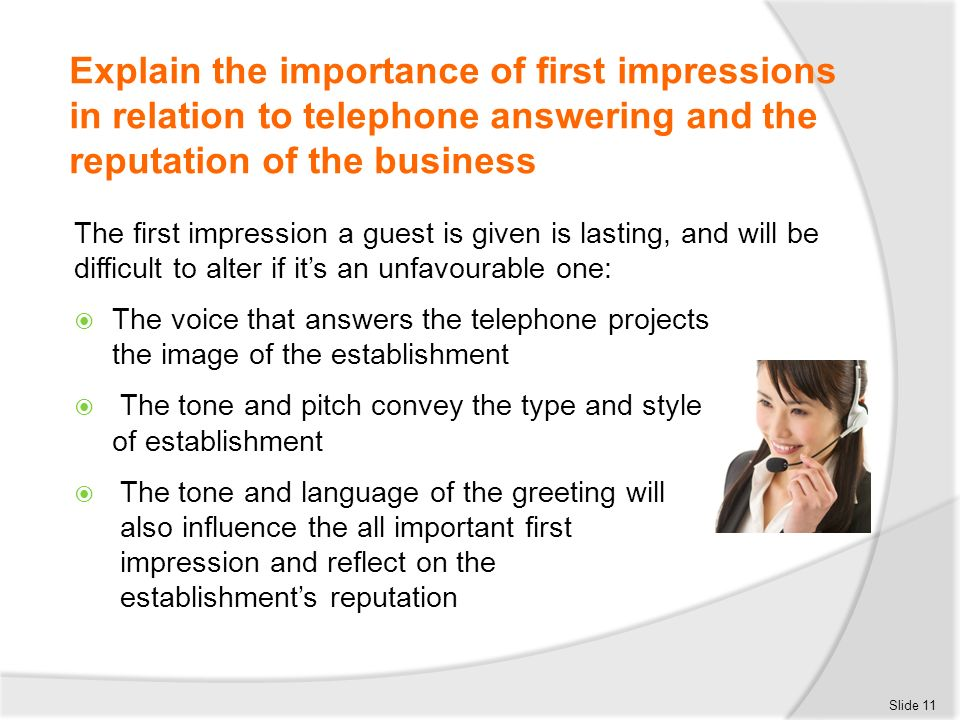 Receive and place incoming telephone calls ppt download explain the importance of first impressions in relation to telephone answering and the reputation of the m4hsunfo