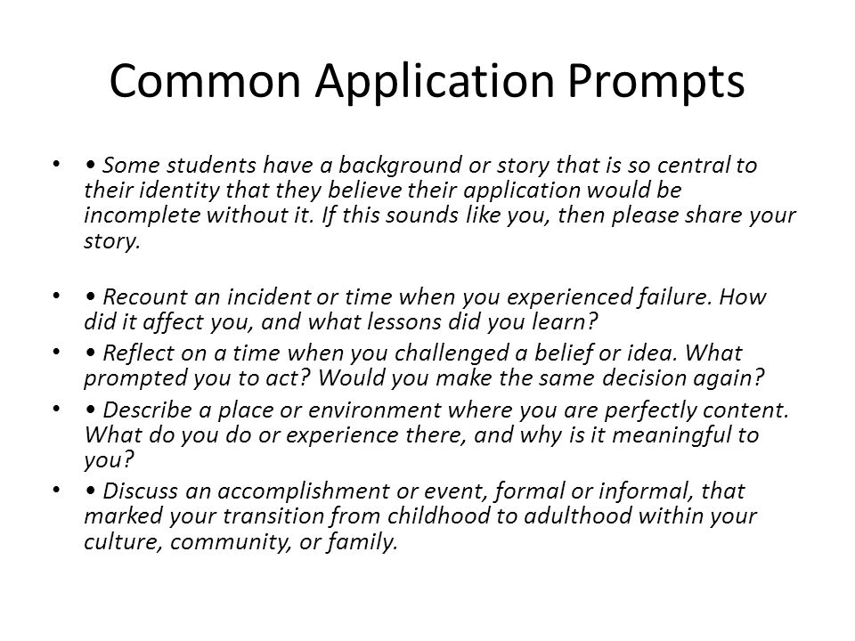 Common Application Essay Topic Pre-Writing Strategies - ppt download