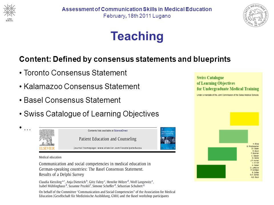 Assessment of communication skills in medical education ppt video 7 teaching content defined by consensus statements and blueprints assessment of communication skills in medical malvernweather Choice Image