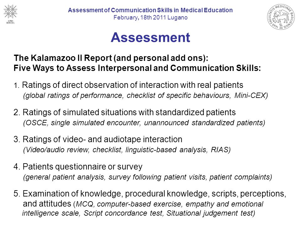 Assessment of Communication Skills in Medical Education