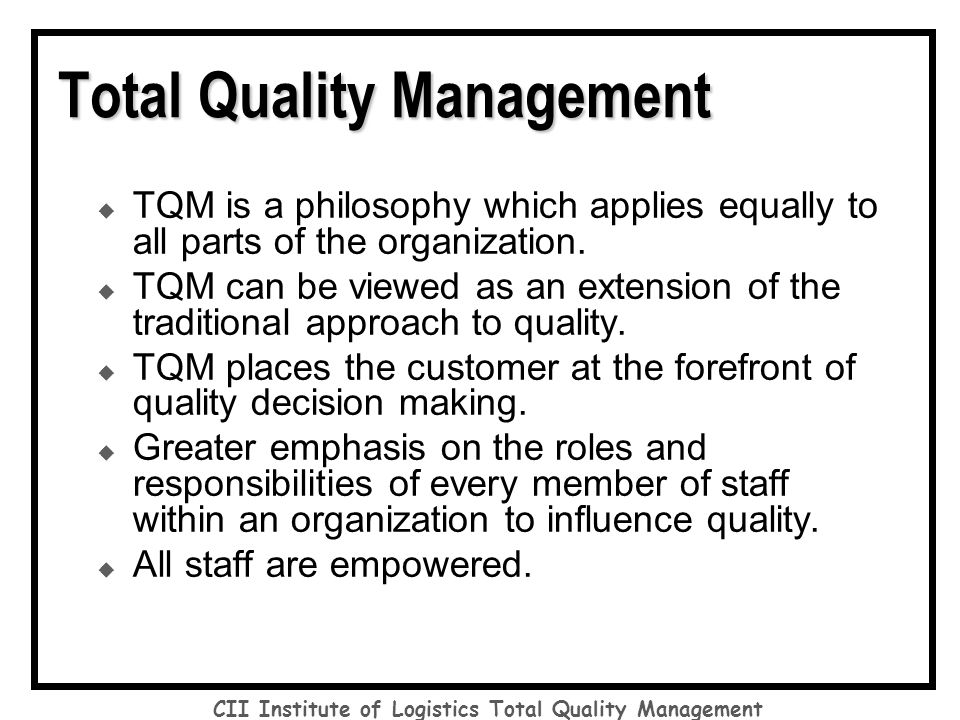 total quality management in organization