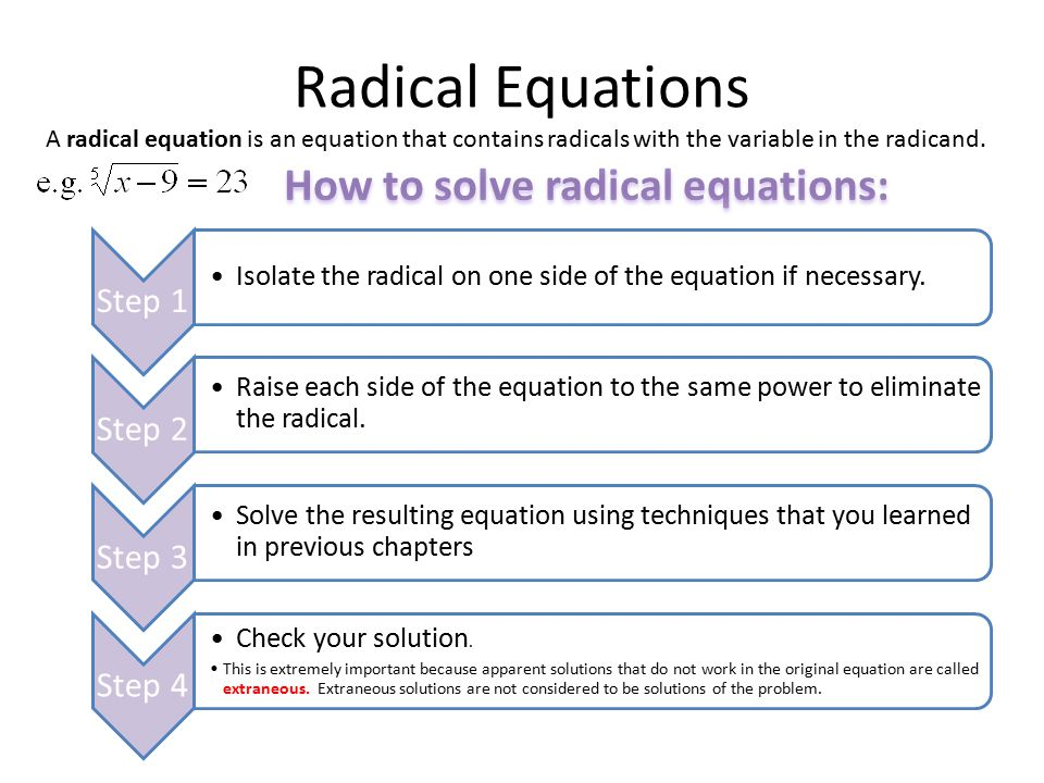 How to solve radical equations: