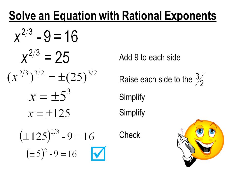  Solve an Equation with Rational Exponents Add 9 to each side