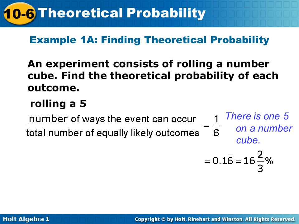 Example 1A: Finding Theoretical Probability