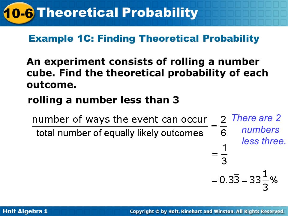 Example 1C: Finding Theoretical Probability