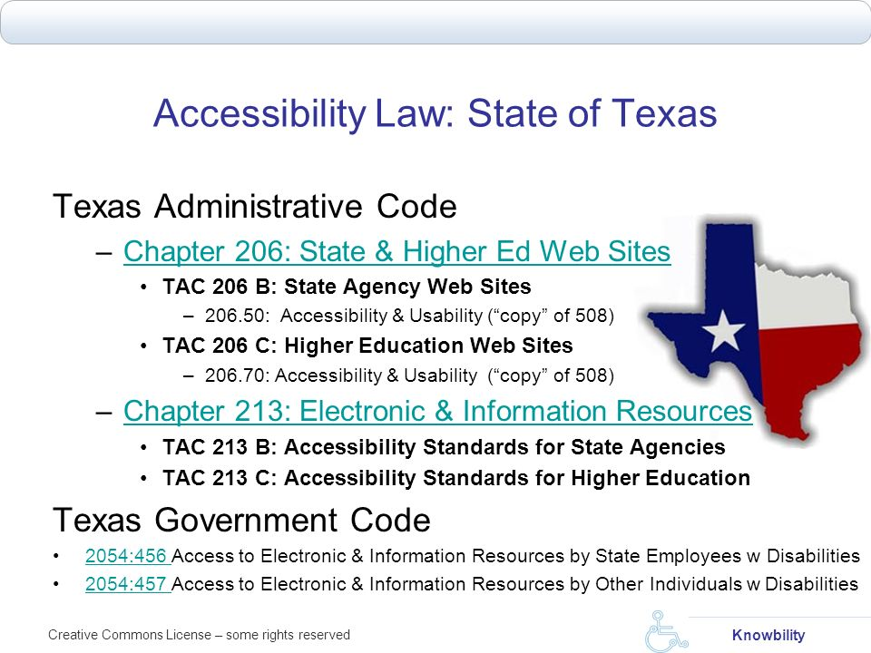 Accessibility Law: State of Texas