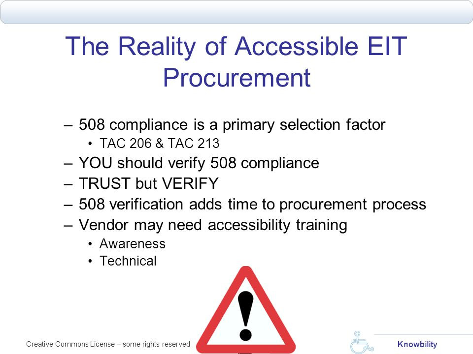 The Reality of Accessible EIT Procurement