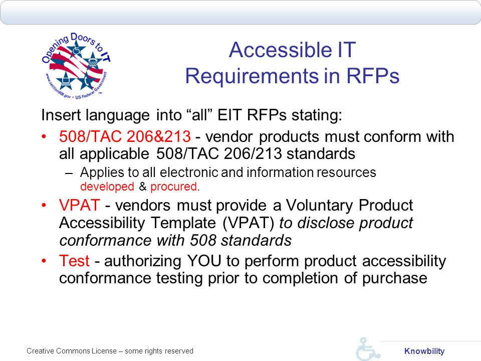 Accessible IT Requirements in RFPs