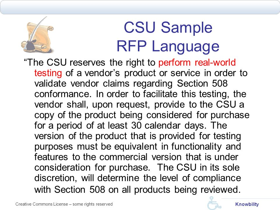 CSU Sample RFP Language