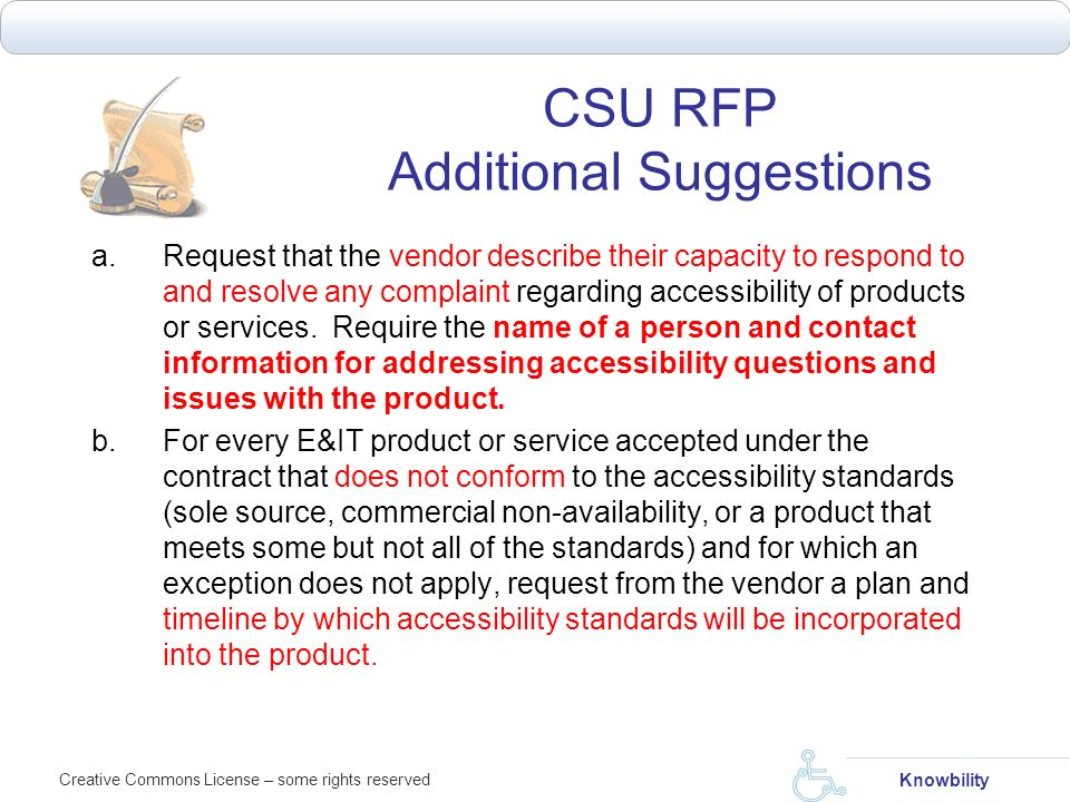 CSU RFP Additional Suggestions