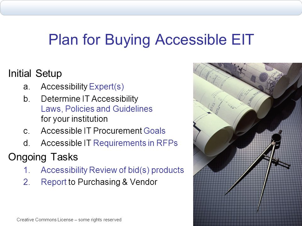 Plan for Buying Accessible EIT