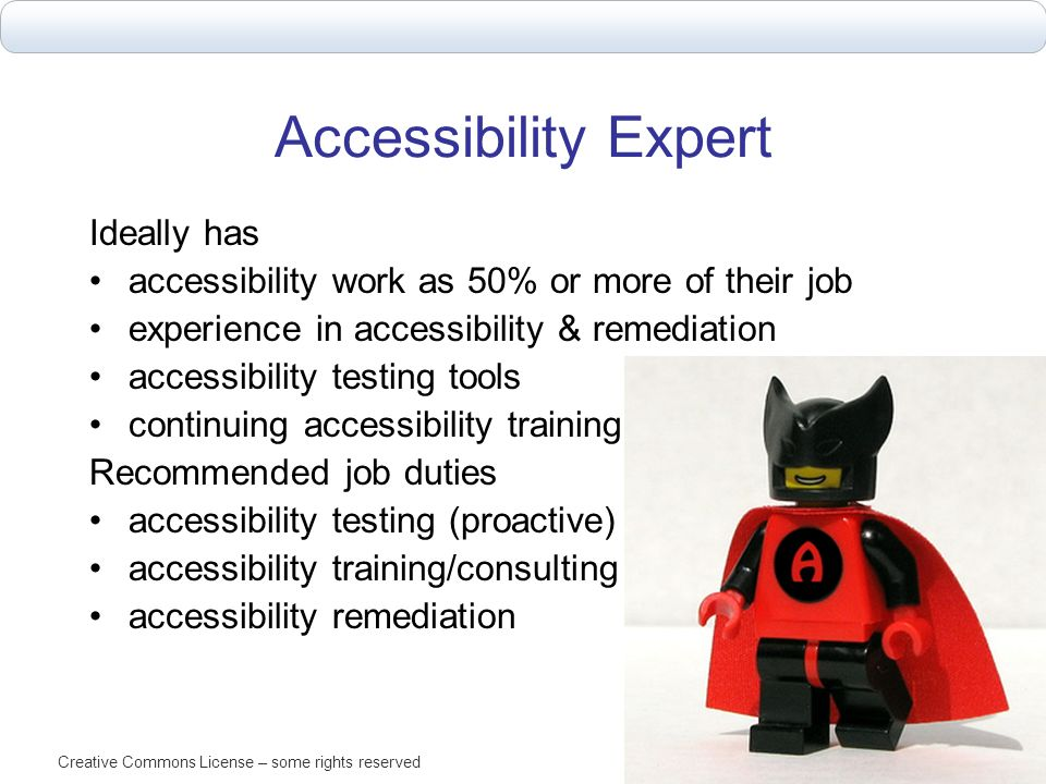 Accessibility Expert Ideally has