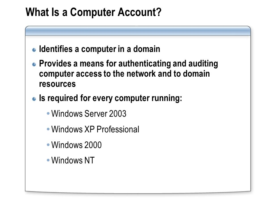 What Is a Computer Account