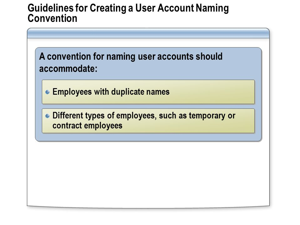 Guidelines for Creating a User Account Naming Convention