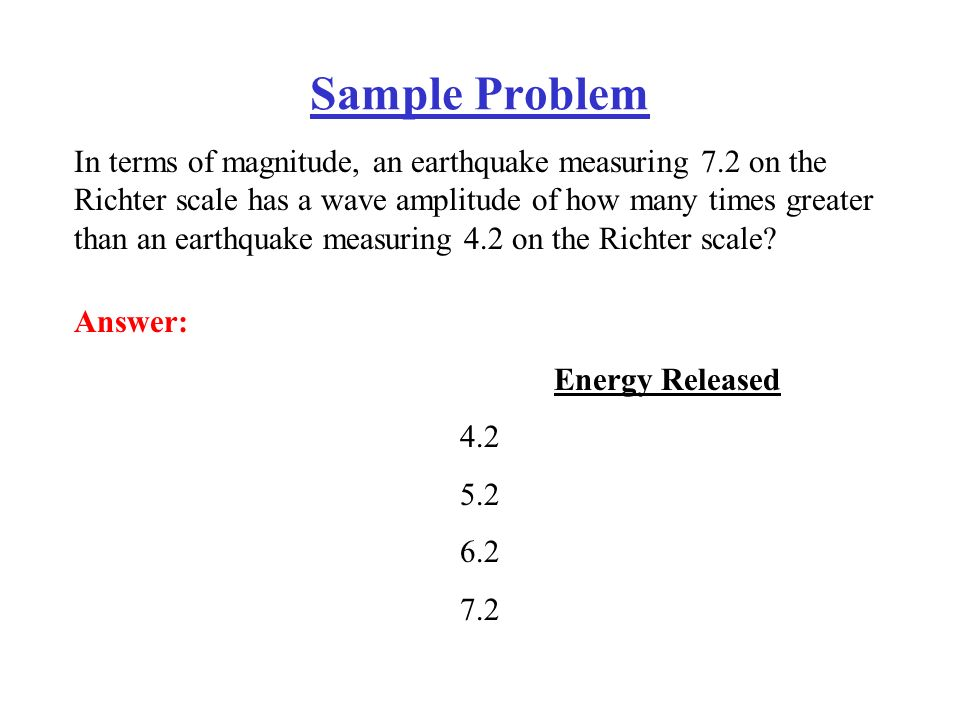 richter scale essay Cause and effect essay elena gorbatyuk esl 106  the latest big and destructive earthquake happened in japan about one month ago and was measured at 84 on the richter scale an earthquake is a sudden and violent shaking of the ground because of released energy, sometimes causing great destruction, casualties, and tsunamis.