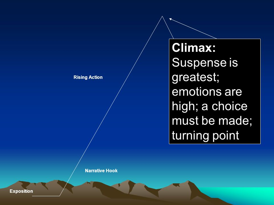 Climax: Suspense is greatest; emotions are high; a choice must be made; turning point