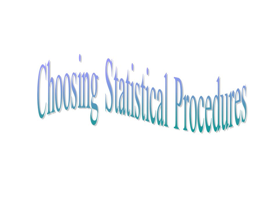 Choosing Statistical Procedures