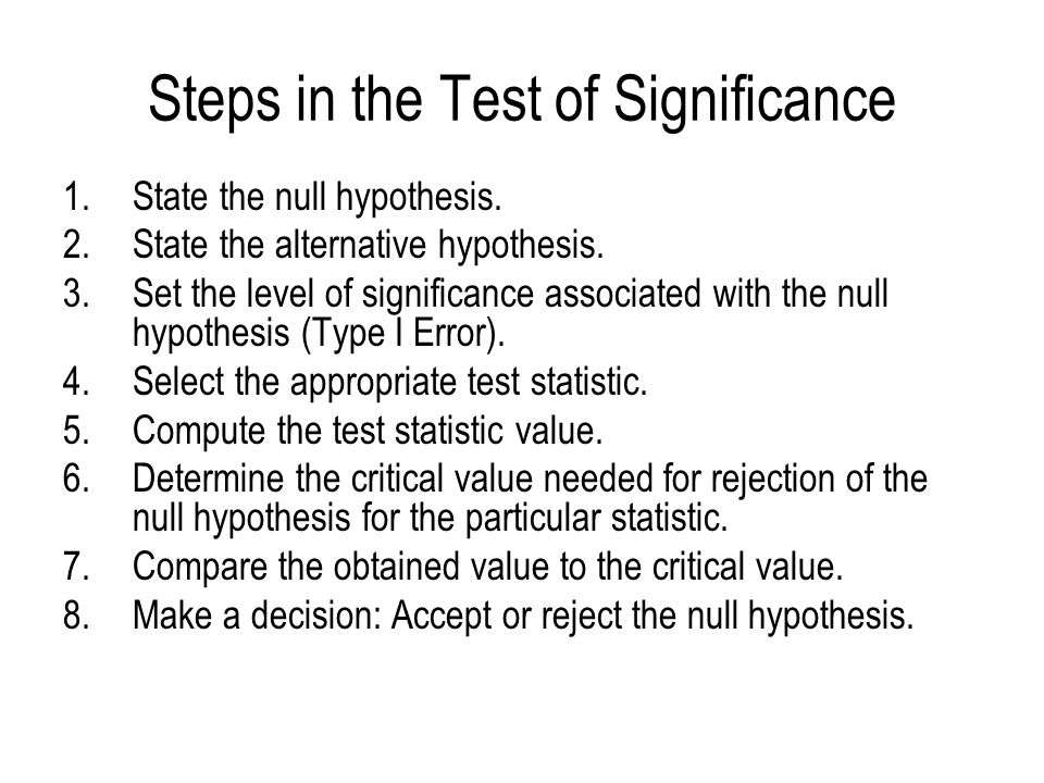 Steps in the Test of Significance