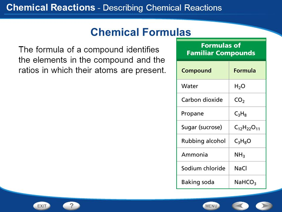 Chemical Formulas - Describing Chemical Reactions