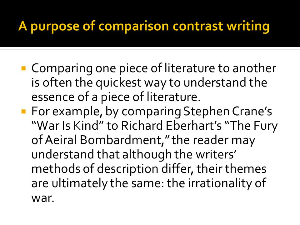 purpose of comparison and contrast