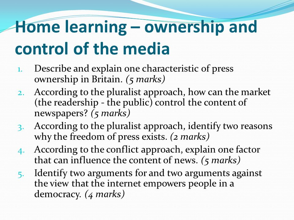Home learning – ownership and control of the media