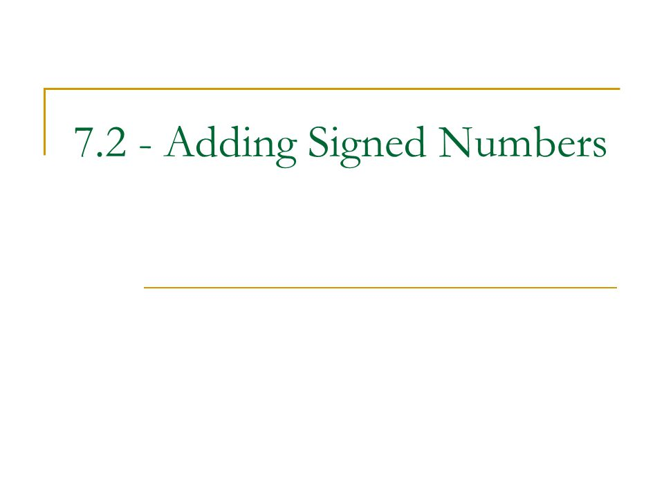 7.2 - Adding Signed Numbers