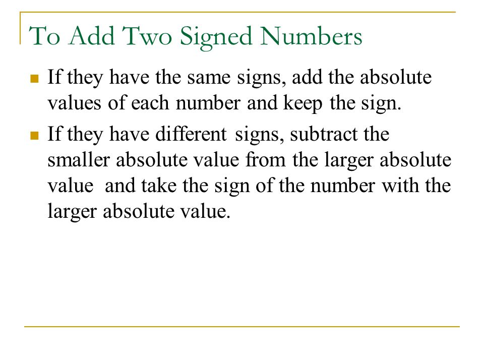 To Add Two Signed Numbers