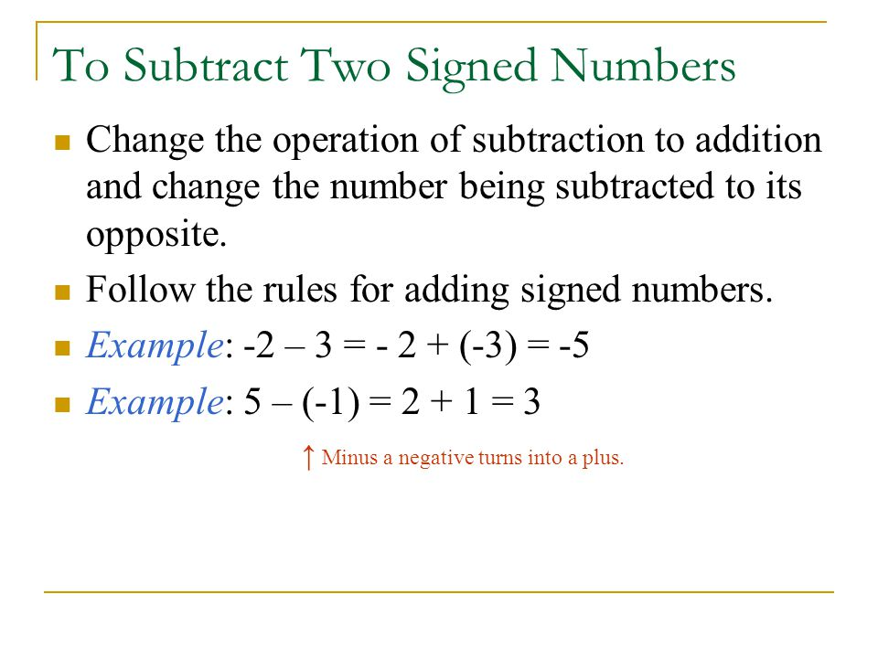 To Subtract Two Signed Numbers