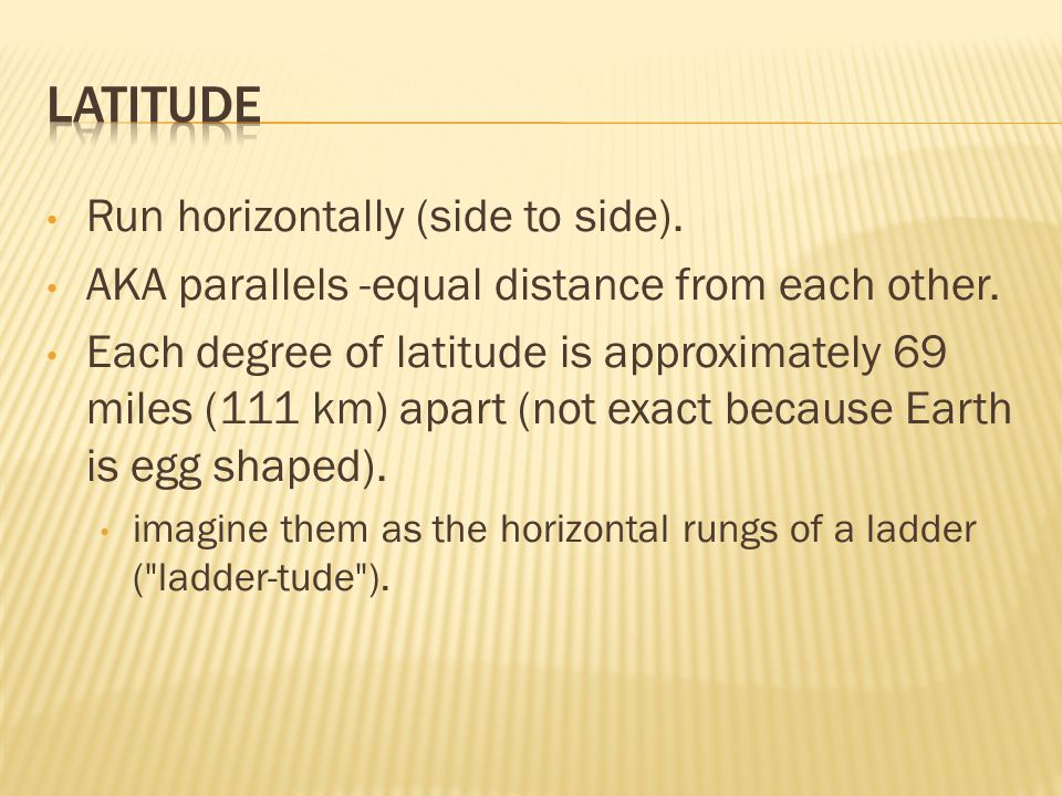 Latitude Run horizontally (side to side).