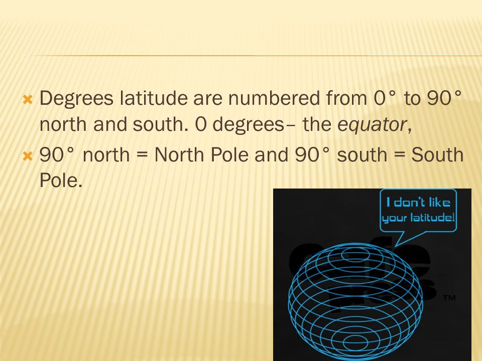 Degrees latitude are numbered from 0° to 90° north and south