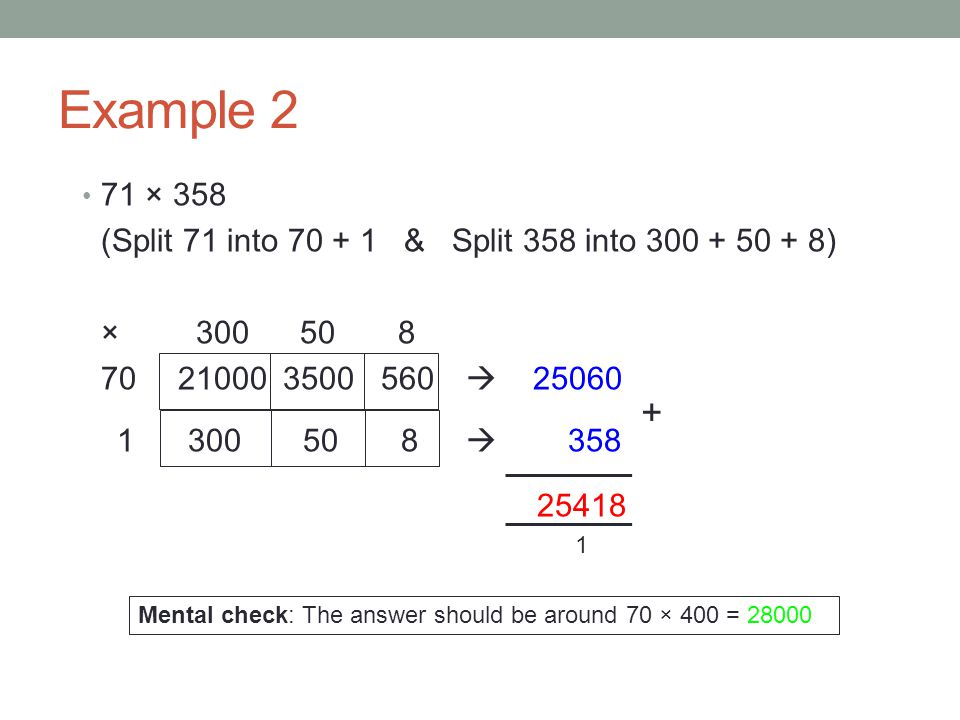 Example 2 71 × 358. (Split 71 into & Split 358 into ) ×