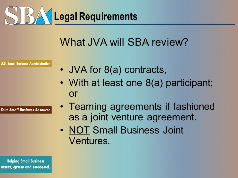 What JVA will SBA review