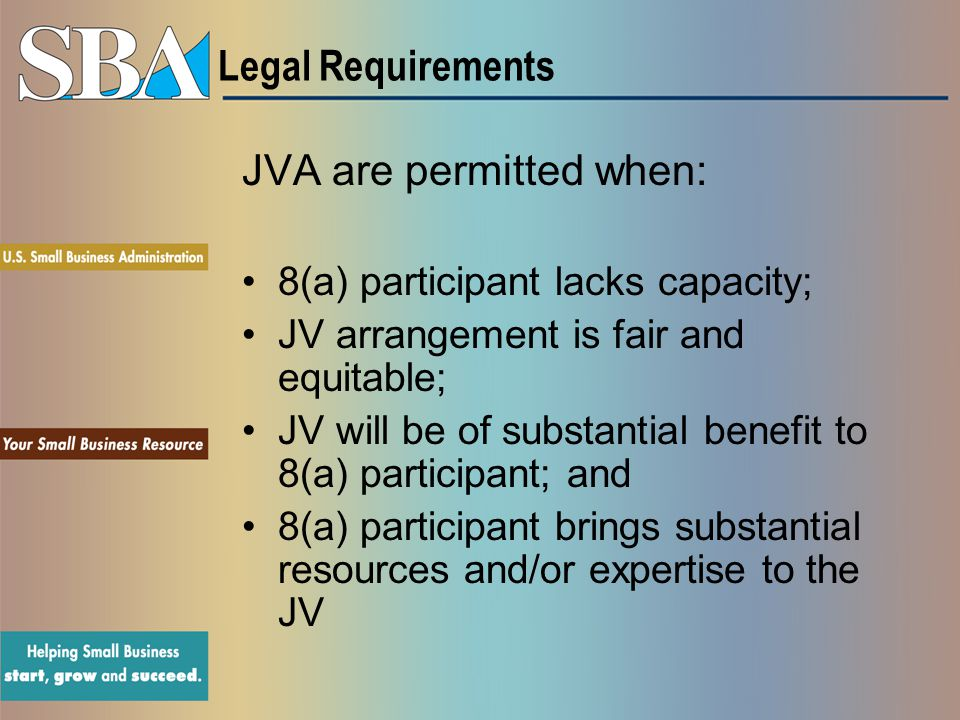 JVA are permitted when: