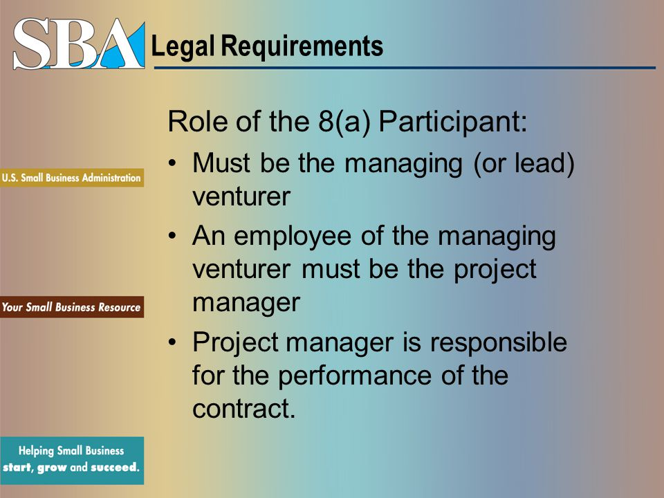 Role of the 8(a) Participant: